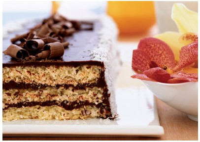 Triple layer chocolate macaroon cake